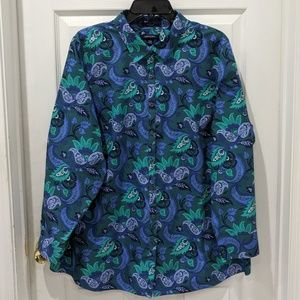 Lands' End Floral Paisley Long Sleeve Button Down